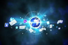 Global communication background - stock illustration