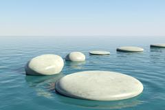 Zen rock pool - stock illustration