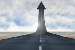 Road turning into arrow - stock illustration
