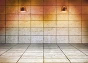 Stock Illustration of Grey grid room with lights