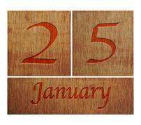 Wooden calendar january 25. Stock Illustration