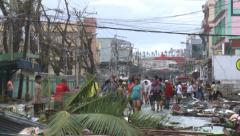 Survivors In Devastated Streets Tacloban After Typhoon Haiyan Stock Footage