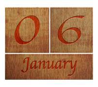 Wooden calendar january 6. Stock Illustration