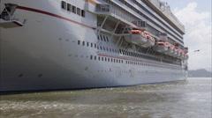 Frigate bird bird flies next to cruise ship Stock Footage