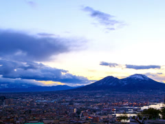 Mount Vesuvius. Dawn over Naples. Time Lapse. 4x3 Stock Footage