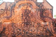 Intricacy of the carving at banteay srei Stock Photos