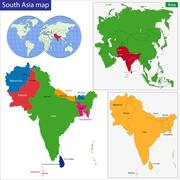 Southern Asia map - stock illustration