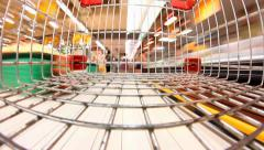 supermarket shopping time lapse shopping trolley - stock footage