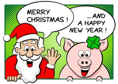 Santa claus and lucky pig with speech bubbles Stock Illustration