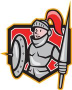 knight shield lance crest cartoon - stock illustration