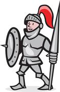 knight shield holding lance cartoon - stock illustration