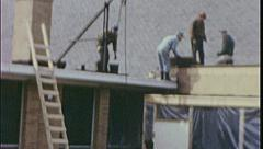 ROOFING Construction ROOFING CREW Men Roof 1960s Vintage Film Home Movie 7442 Stock Footage
