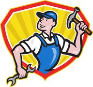 carpenter builder hammer spanner cartoon - stock illustration