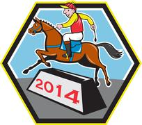 year of horse 2014 jockey jumping cartoon - stock illustration