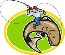 Stock Illustration of fly fisherman riding trout fish cartoon