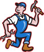 Carpenter builder hammer running cartoon Stock Illustration