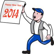 new year 2014 newspaper boy showing sign cartoon - stock illustration