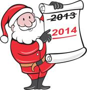 new year 2014 santa claus scroll sign - stock illustration