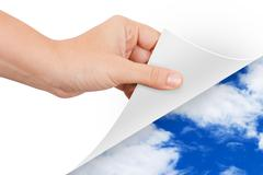 hand turning page to weather - stock illustration