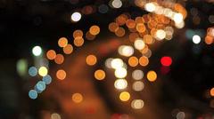 Blurry defocussed car lights - stock footage