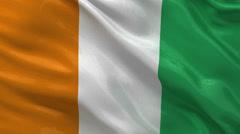 Flag of Ivory Coast seamless loop Stock Footage