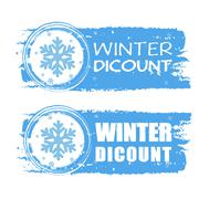 winter discount with snowflake on blue drawn banners - stock illustration