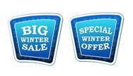 Stock Illustration of big winter sale and special winter offer on retro blue banners with snowflake