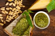 Stock Photo of italian basil pesto bruschetta ingredients