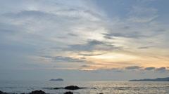 Rocky seaside sunset Stock Footage