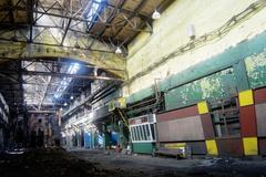 abandoned industrial dirty workshop - stock photo