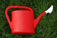Stock Photo of red wateringpot on the green grass in garden