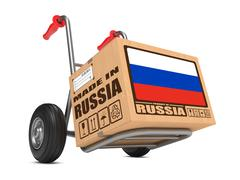 Made in Russia - Cardboard Box on Hand Truck. Stock Illustration