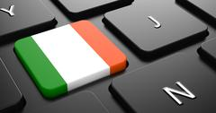 Stock Illustration of Ireland - Flag on Button of Black Keyboard.