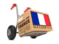 Made in France - Cardboard Box on Hand Truck. - stock illustration