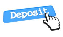 Deposit Button with Hand Cursor. - stock illustration
