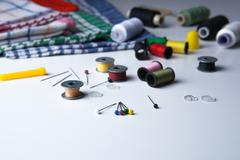 Needles with other sewing Stock Photos