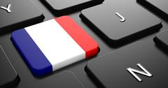 Stock Illustration of France - Flag on Button of Black Keyboard.