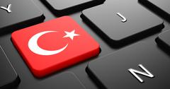 Turkey - Flag on Button of Black Keyboard. - stock illustration
