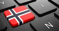 Stock Illustration of Norway - Flag on Button of Black Keyboard.
