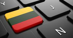 Lithuania - Flag on Button of Black Keyboard. - stock illustration