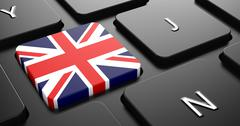 Stock Illustration of United Kingdom - Flag on Button of Black Keyboard.