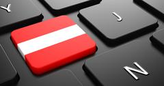 Stock Illustration of Austria - Flag on Button of Black Keyboard.