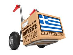 Made in Greece - Cardboard Box on Hand Truck. Stock Illustration