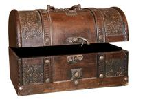 isolated vintage pirate treasure chest - stock photo