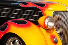 flames and chrome hot rod - stock photo