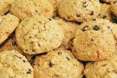 Stock Photo of pile of chocolate chips sweet cookies