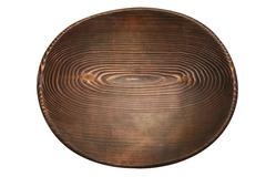 Oval handmade wooden stained plate Stock Photos