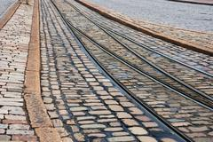 rails and pavement - stock photo
