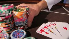 Casino. Placing bet - stock footage