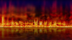 Fiery equalizer with reflection loopable background Stock Footage